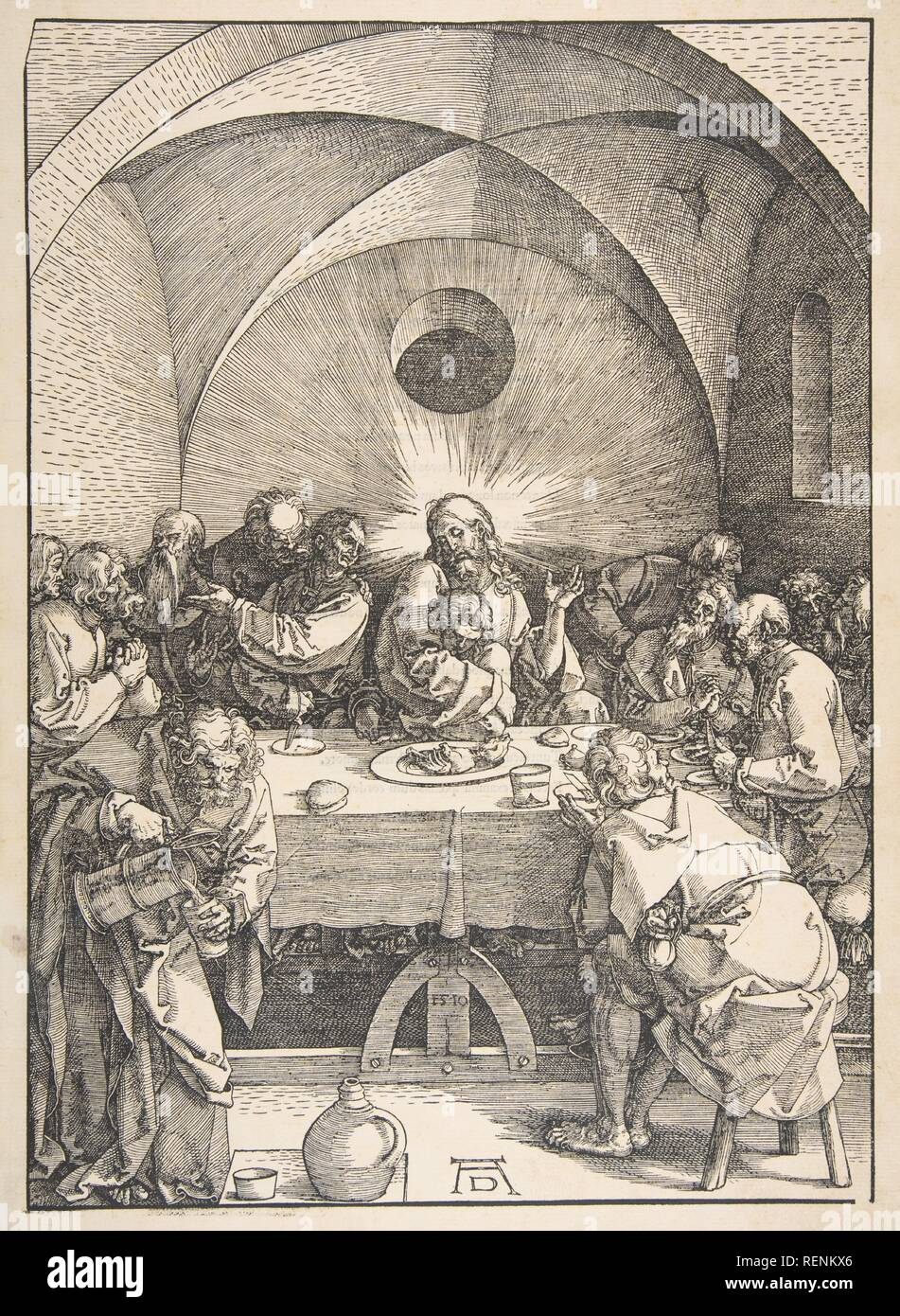 The Last Supper, from The Large Passion. Artist: Albrecht Dürer (German, Nuremberg 1471-1528 Nuremberg). Dimensions: sheet: 17 5/16 x 12 1/16 in. (43.9 x 30.6 cm)  image: 11 3/16 in. (28.4 cm). Date: n.d.. Museum: Metropolitan Museum of Art, New York, USA. - Stock Image