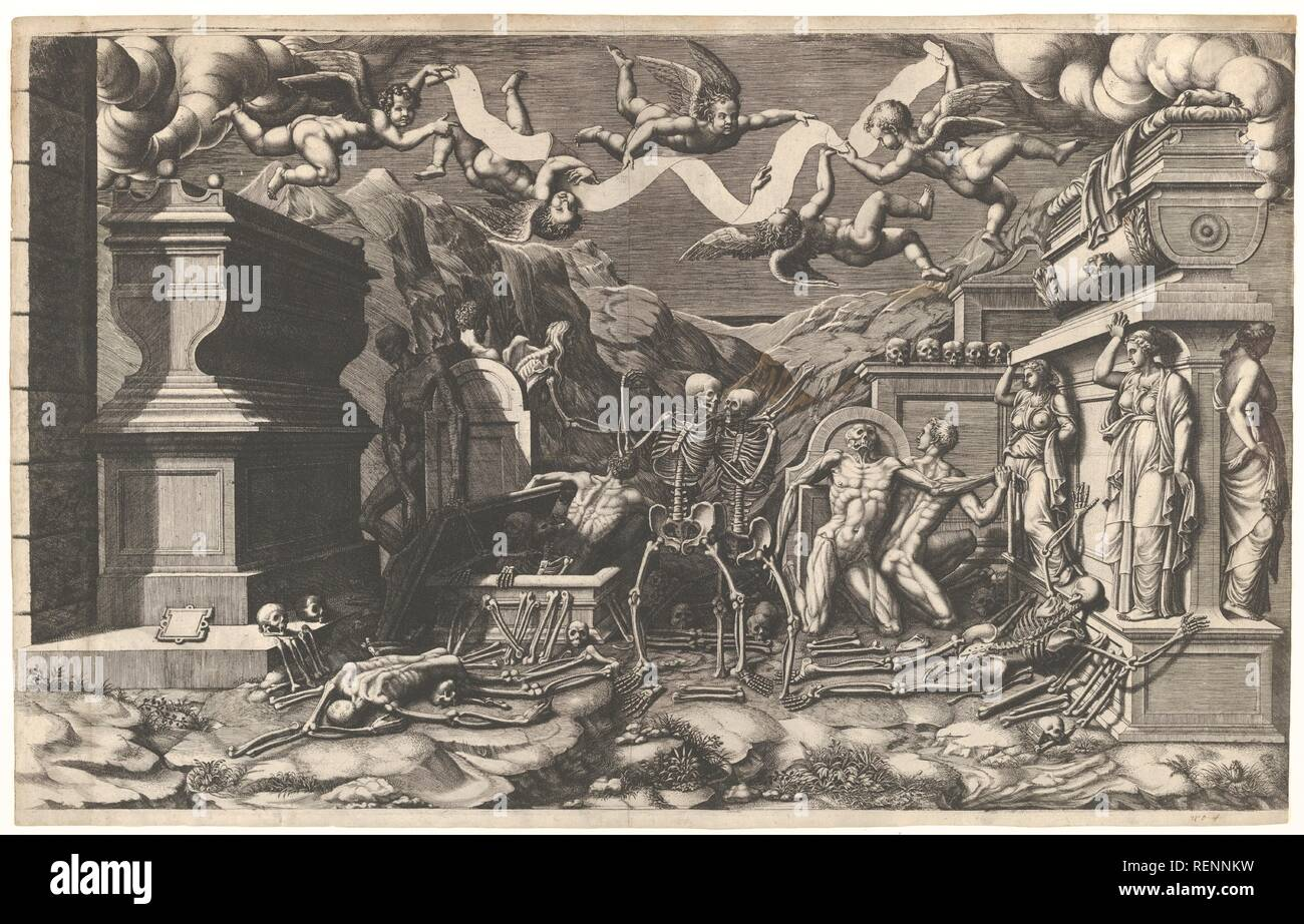 The Vision of Ezekiel; a group of corpses and skeletons emerging out of tombs, above them five winged putti holding a banderole. Artist: Giorgio Ghisi (Italian, Mantua ca. 1520-1582 Mantua); After Giovanni Battista Bertano (Mantua 1516-1576 Mantua). Dimensions: Plate: 16 1/8 x 26 1/2 in. (41 x 67.3 cm)  Sheet: 16 13/16 x 26 1/2 in. (42.7 x 67.3 cm). Date: 1554.  Large and dramatic, this engraving depicts the prophet Ezekiel's vision in the Valley of the Dead when he saw vast numbers of the people brought back to life. As recorded in the Book of Ezekiel from the Old Testament, the prophet was b Stock Photo