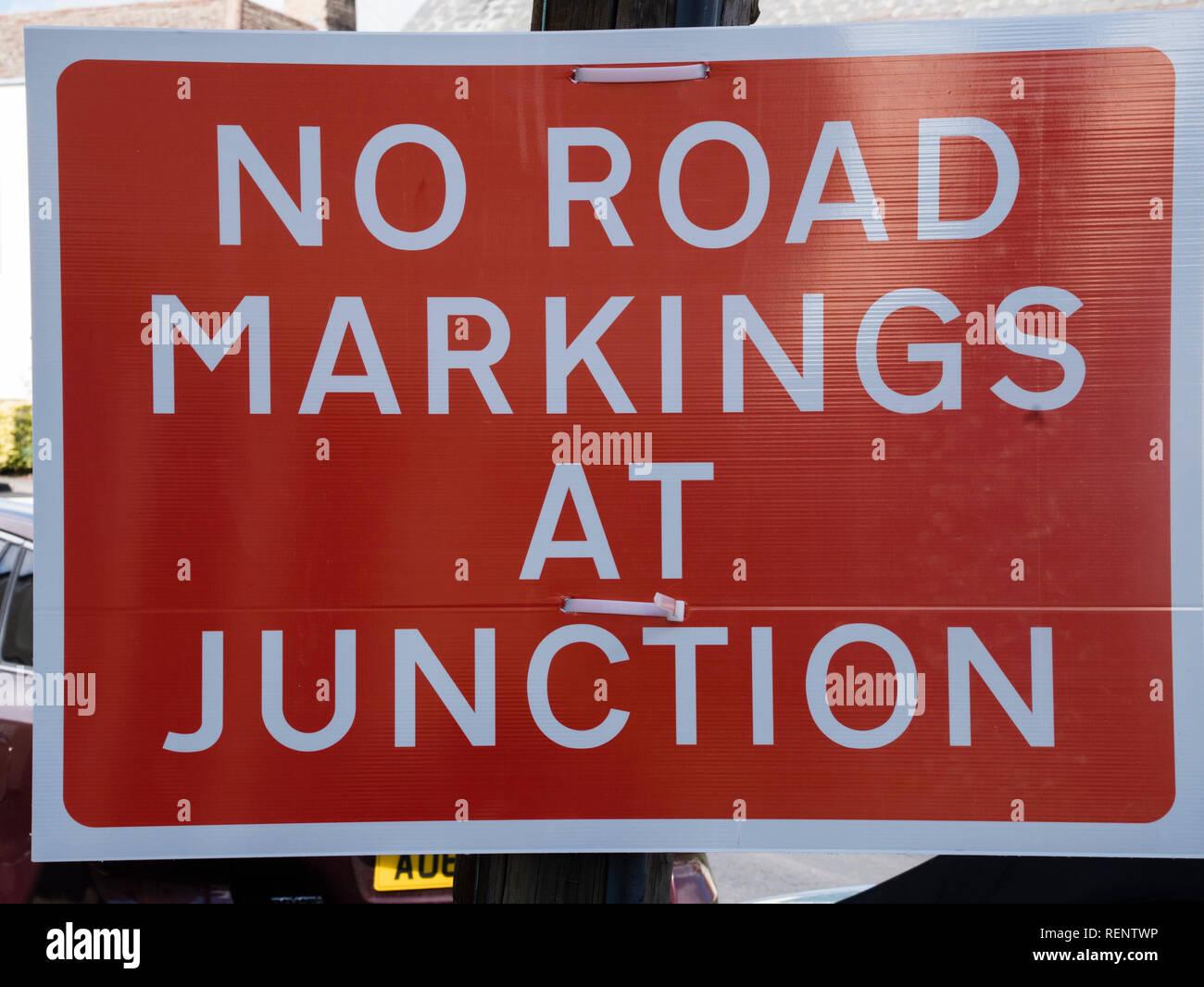 no road markings at junction - Stock Image
