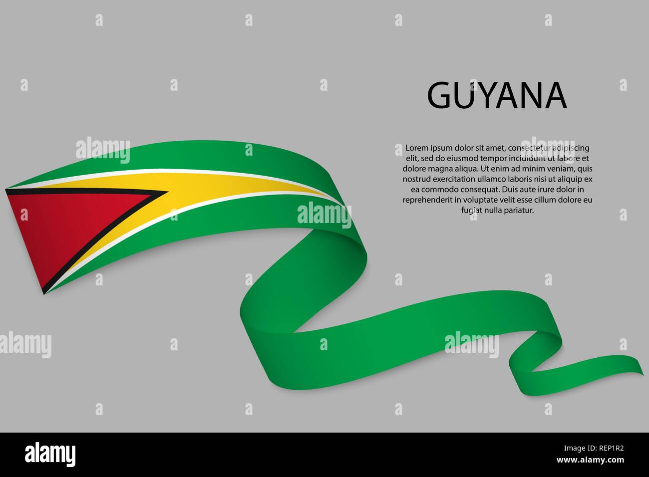Waving ribbon or banner with flag of Guyana  Template for