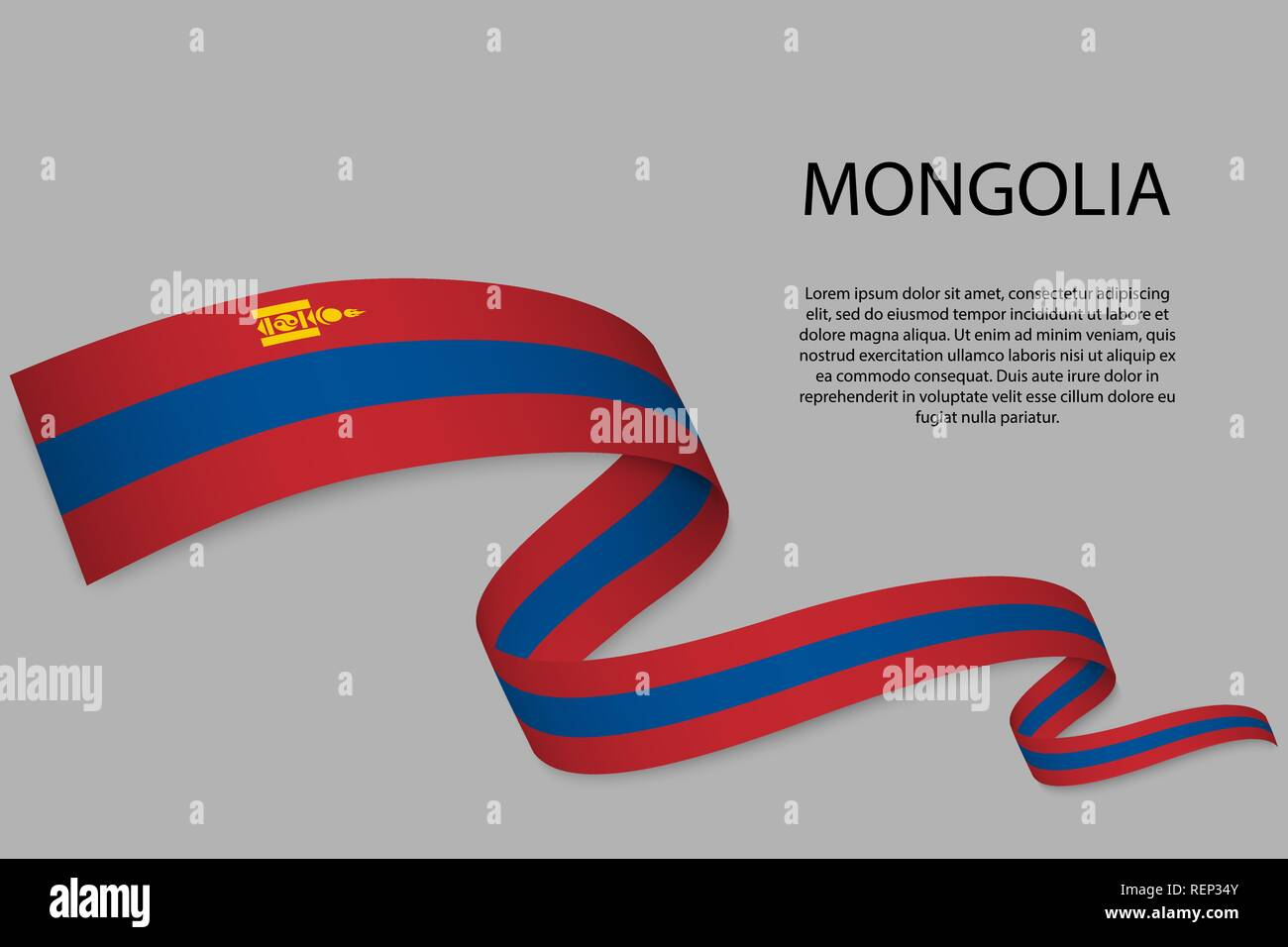 Waving ribbon or banner with flag of Mongolia. Template for independence day poster design - Stock Vector