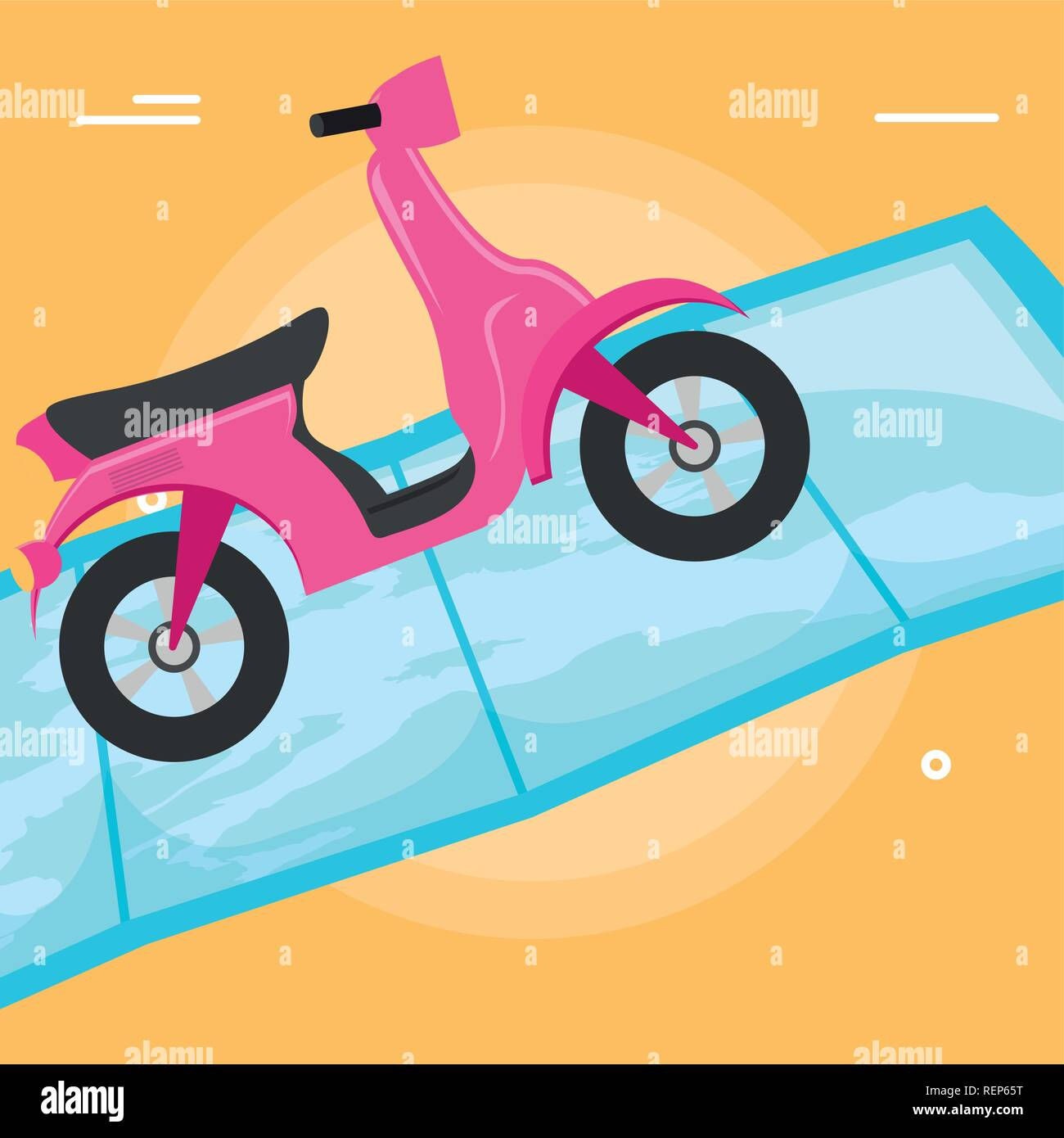 Motorcycle on a map over white background, vector illustration - Stock Vector