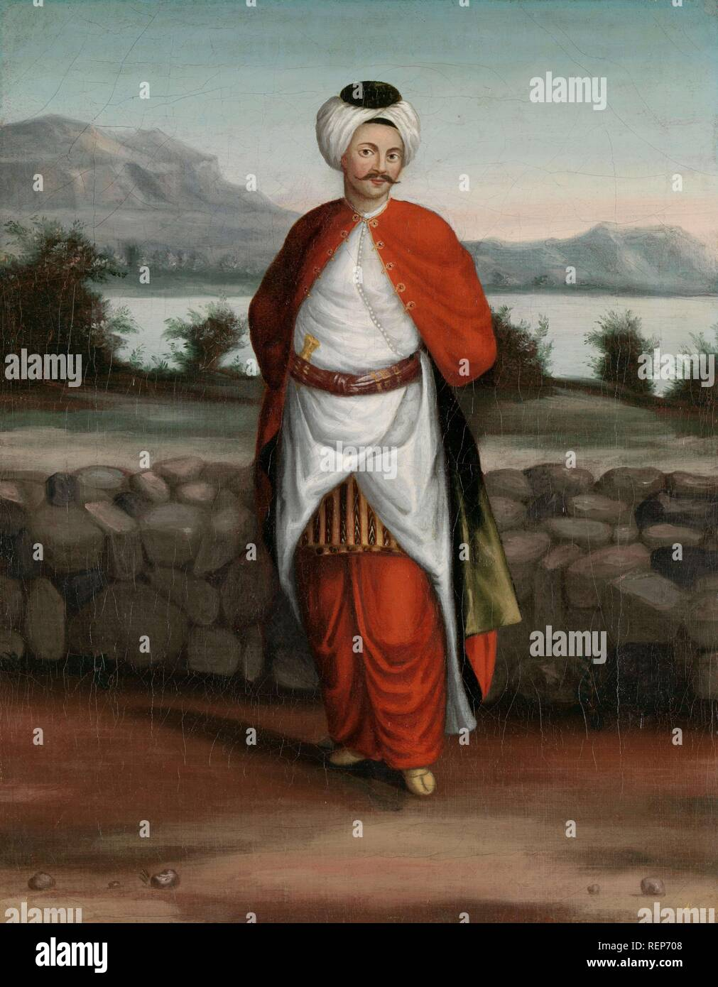 Choadar, Servant of the Ambassador. Dating: 1700 - 1737. Place: Istanbul. Measurements: h 39.5 cm × w 30 cm. Museum: Rijksmuseum, Amsterdam. Author: Jean Baptiste Vanmour (workshop of). - Stock Image