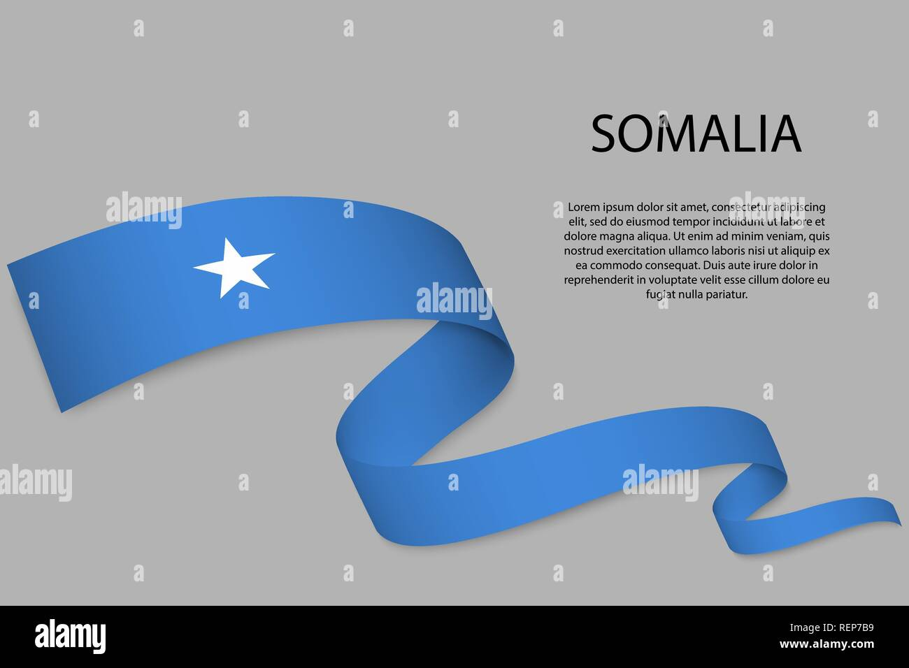 Waving ribbon or banner with flag of Somalia  Template for