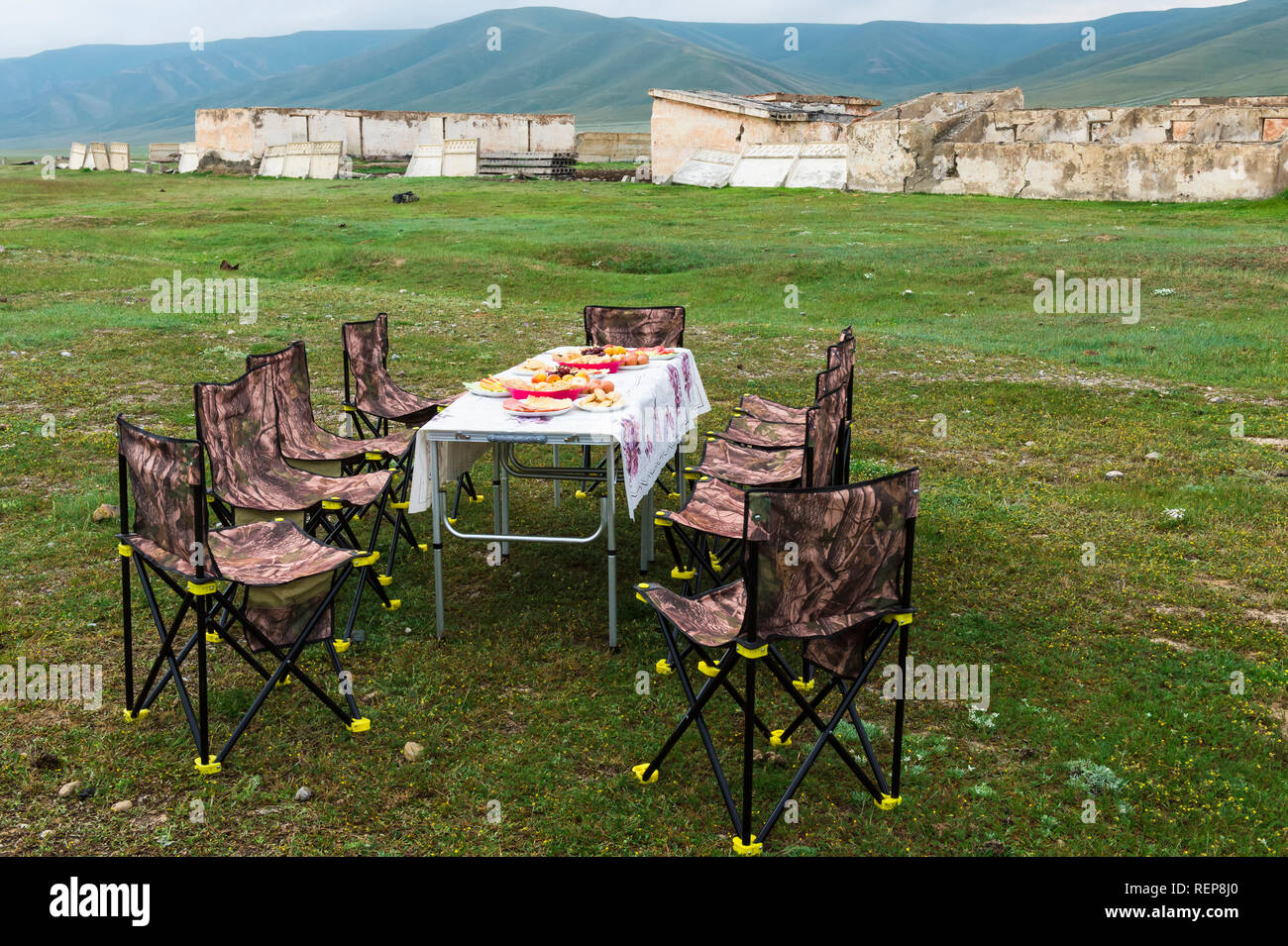 Having picnic near road to Song Kol Lake, Naryn province, Kyrgyzstan, Central Asia - Stock Image