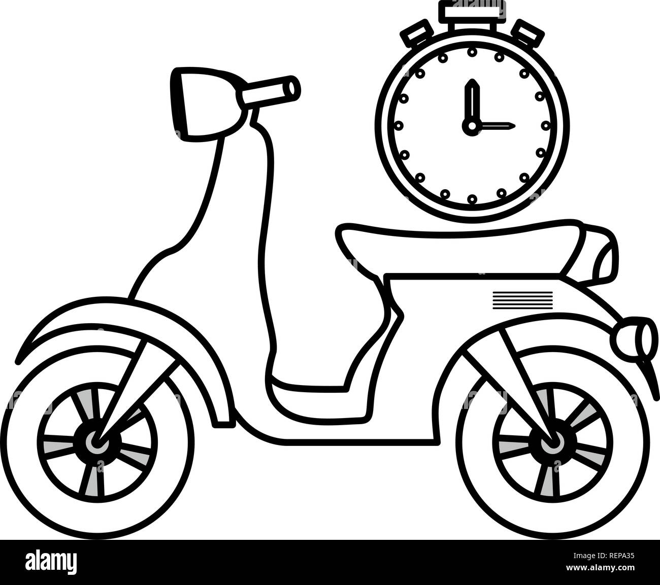 Motorcycle and chronometer over white background, vector illustration - Stock Vector