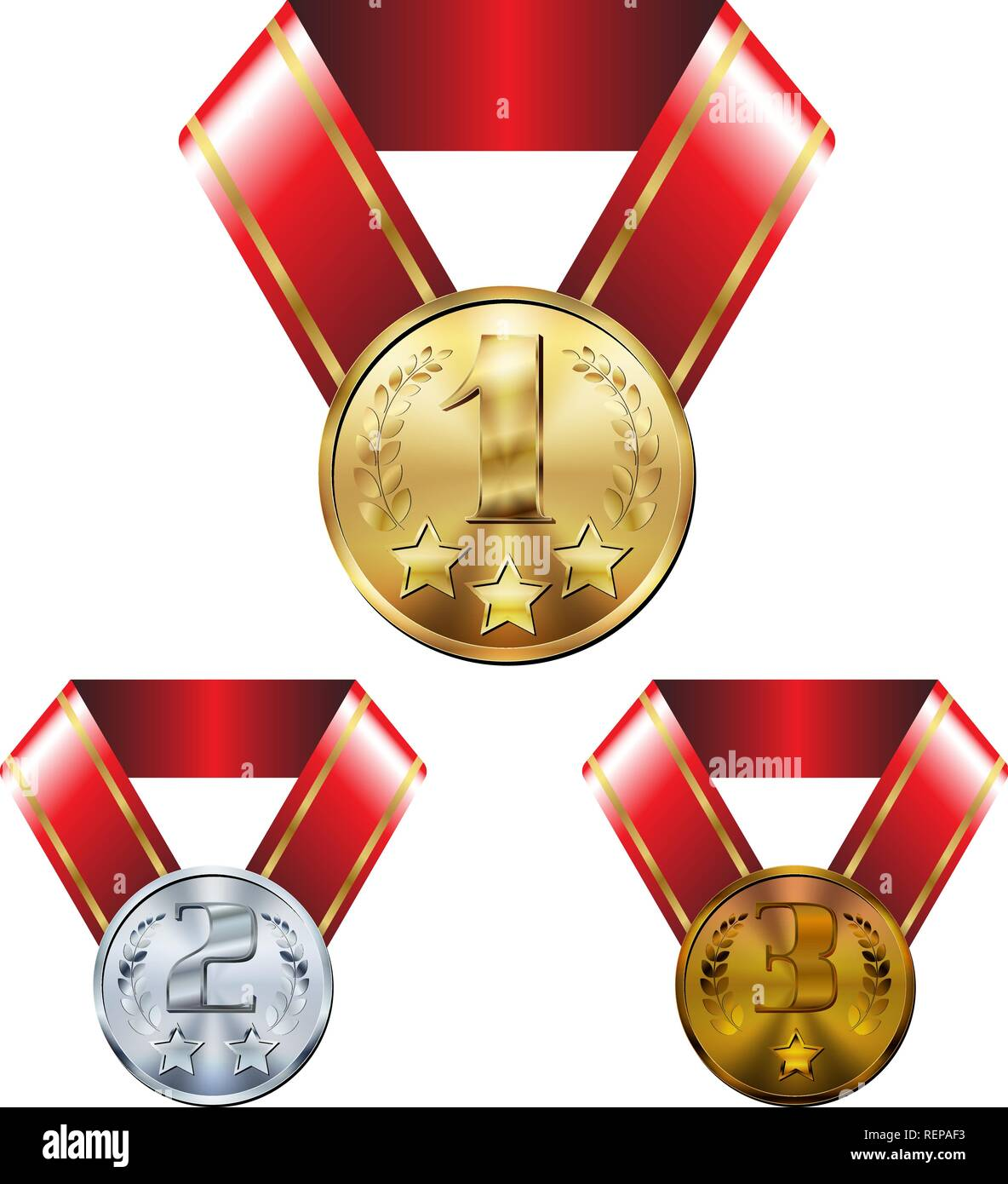 Illustration of gold, silver and bronze medal on red ribbon
