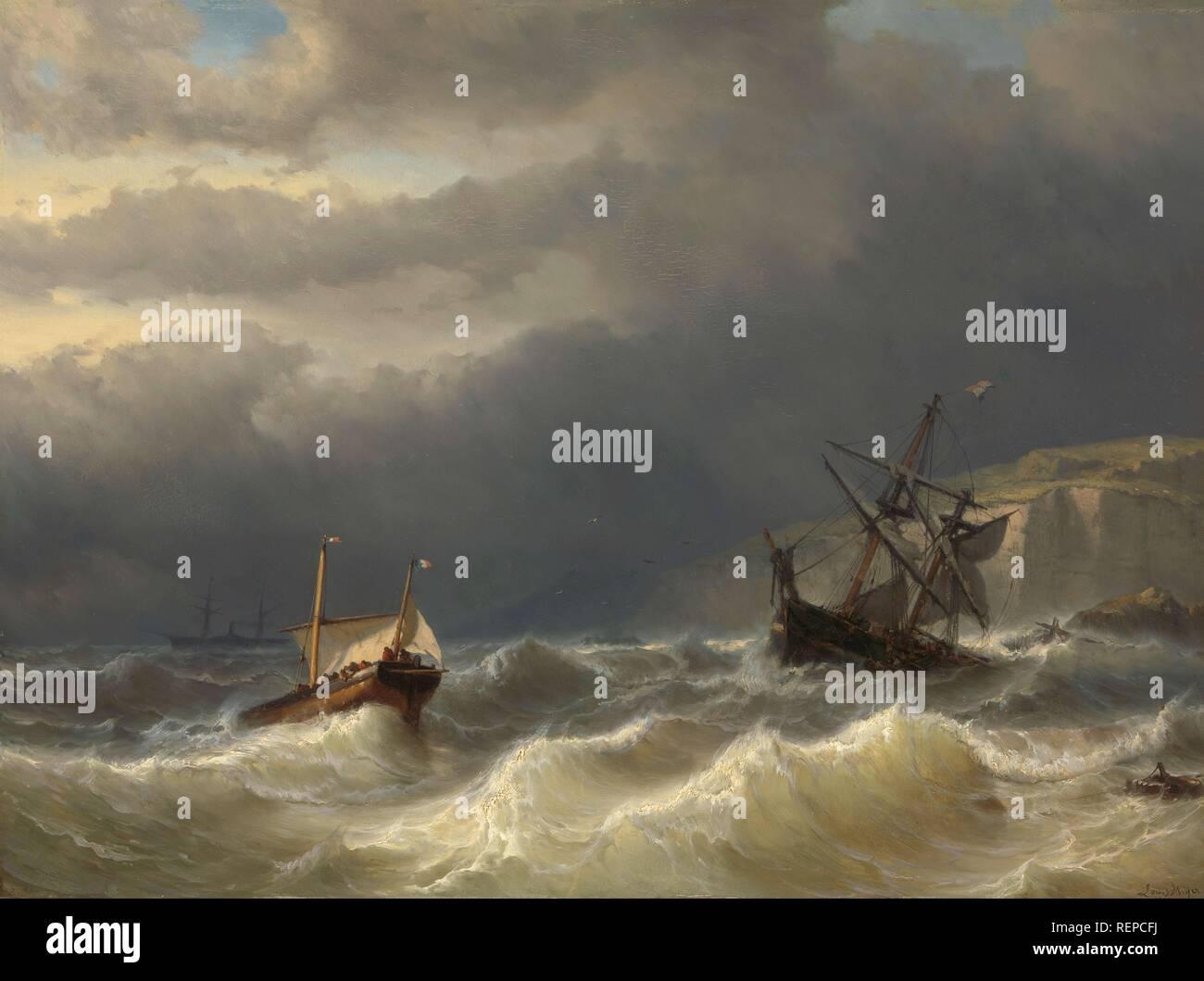 Storm in the Strait of Dover. Dating: 1819 - 1866. Measurements: h 65 cm × w 88 cm; d 7 cm. Museum: Rijksmuseum, Amsterdam. Author: LOUIS MEIJER. - Stock Image