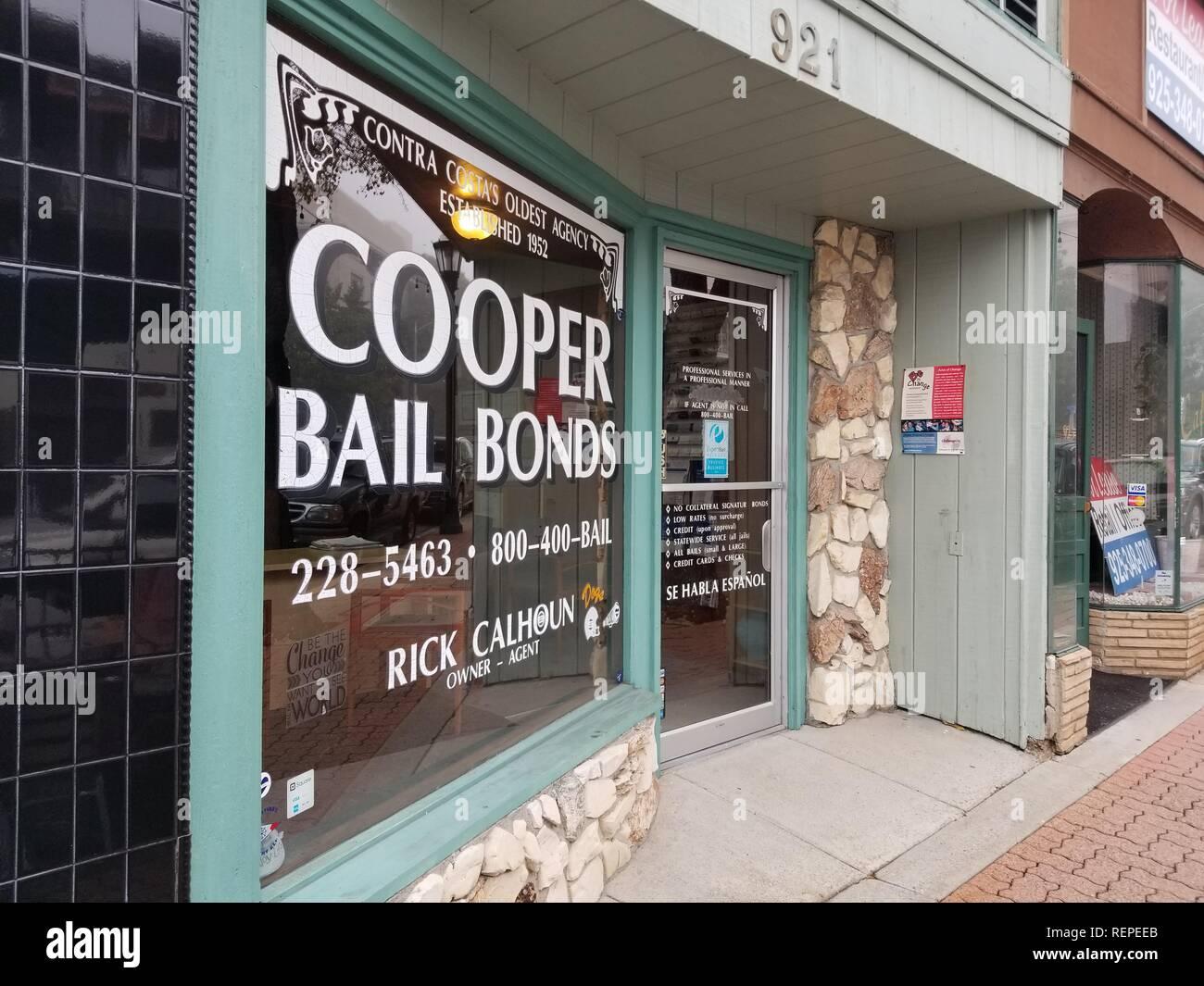 Storefront of Cooper Bail Bonds, originally established in 1952, near Contra Costa superior court in Martinez, California, January 10, 2019. () - Stock Image
