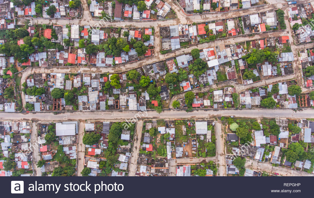 Aerial drone photography of a town in Valencia, Venezuela - Stock Image