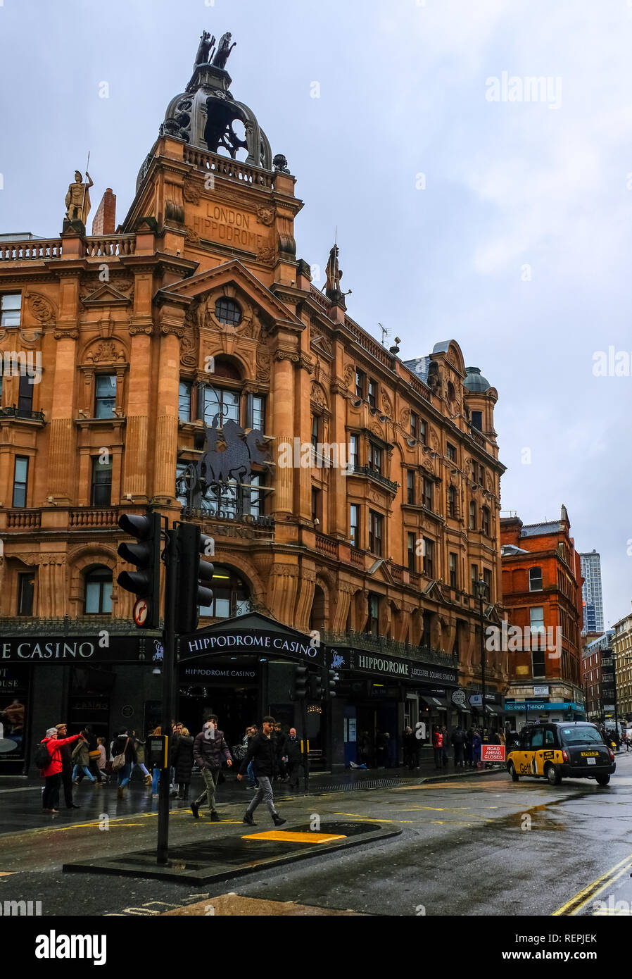 LONDON, UK - March 12: Famous Casino London Hippodrome on a rainy day. London Hippodrome was built in 1900 by Frank Matcham as a hippodrome for circus - Stock Image