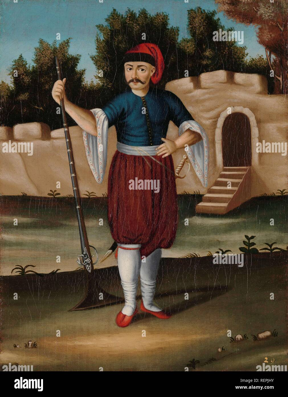 Man from the Albanian Coast. Dating: 1700 - 1737. Place: Istanbul. Measurements: h 39 cm × w 31 cm. Museum: Rijksmuseum, Amsterdam. Author: Jean Baptiste Vanmour (workshop of). - Stock Image