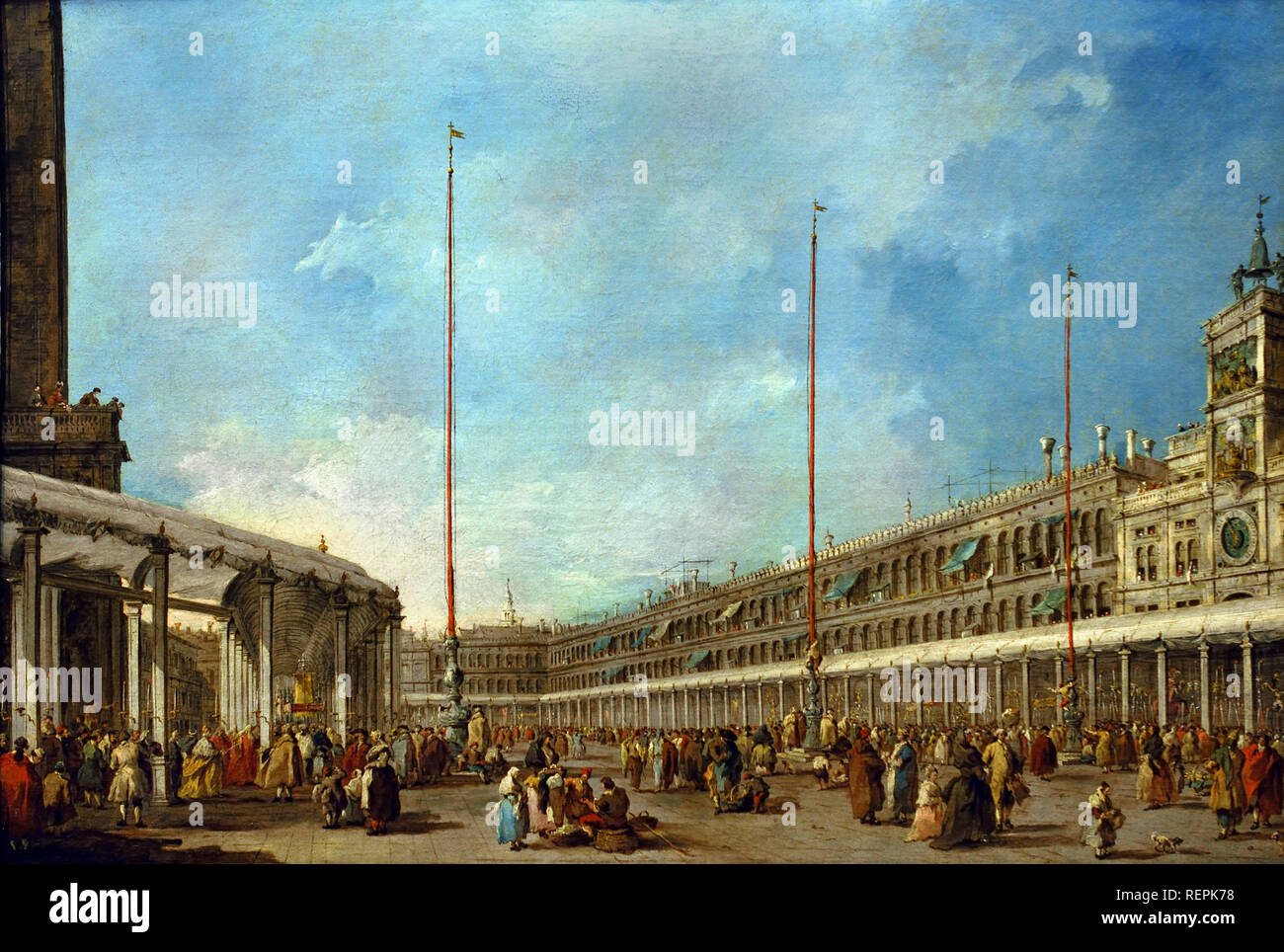 The Doge of Venice Follows the Corpus Domini Procession in the Piazza San Marco  c. 1775–80  by Francesco GUARDI, 1712 – 1793, Venice, Venetian, Italy, Italian, - Stock Image
