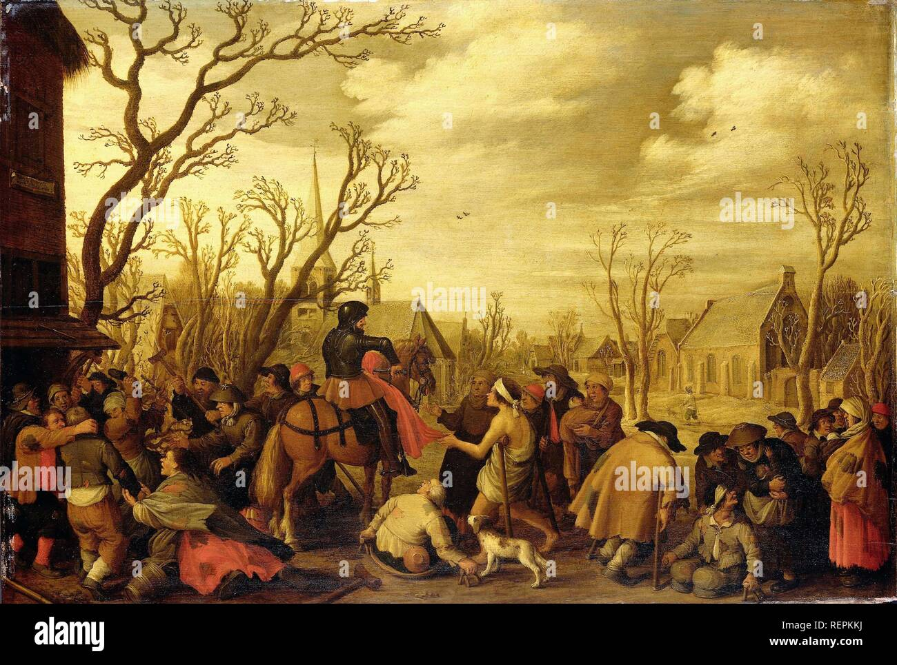 St Martin Cutting Off Part of his Cloak for a Beggar. Dating: 1623. Measurements: support: h 58.4 cm × w 85.5 cm. Museum: Rijksmuseum, Amsterdam. Author: Joost Cornelisz. Droochsloot. Stock Photo