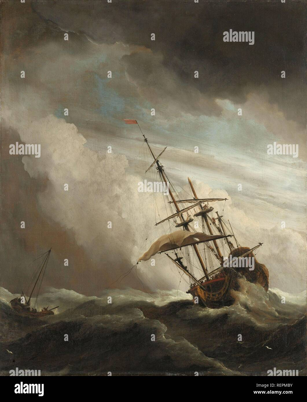 A Ship on the High Seas Caught by a Squall, Known as 'The Gust'. Een schip in volle zee bij vliegende storm, bekend als 'De windstoot'. Dating: c. 1680. Measurements: h 77 cm × w 63.5 cm × h 90.5 cm × w 78.5 cm × d 6.5 cm. Museum: Rijksmuseum, Amsterdam. Author: Willem van de Velde (II). Velde, Willem van de (the Younger). - Stock Image
