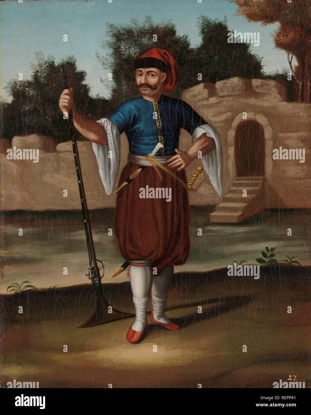 Albanian Soldier. Dating: 1700 - 1737. Place: Istanbul. Measurements: h 39 cm × w 31.5 cm. Museum: Rijksmuseum, Amsterdam. Author: Jean Baptiste Vanmour (workshop of). - Stock Image