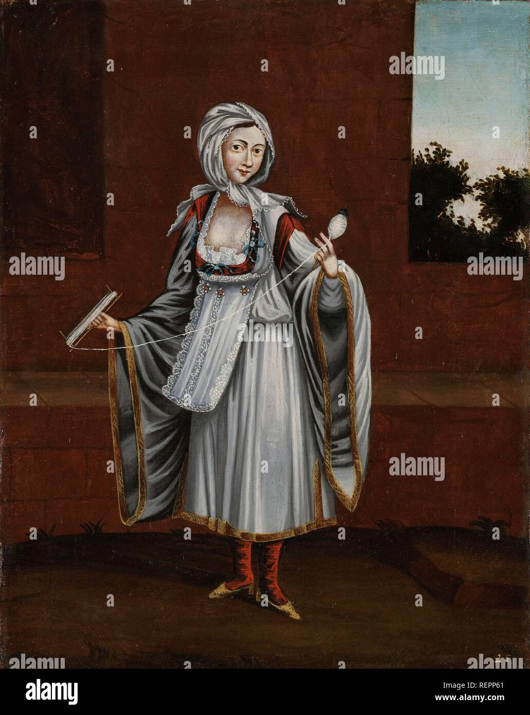 Woman from the Island of Kithnos (Thermia). Dating: 1700 - 1737. Place: Istanbul. Measurements: h 39 cm × w 31 cm. Museum: Rijksmuseum, Amsterdam. Author: Jean Baptiste Vanmour (workshop of). - Stock Image