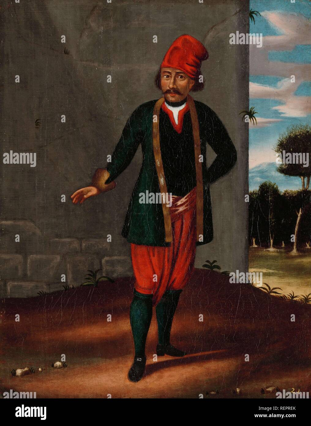 Man from the Island of Tinos. Dating: 1700 - 1737. Place: Istanbul. Measurements: h 39.5 cm × w 31 cm. Museum: Rijksmuseum, Amsterdam. Author: Jean Baptiste Vanmour (workshop of). - Stock Image