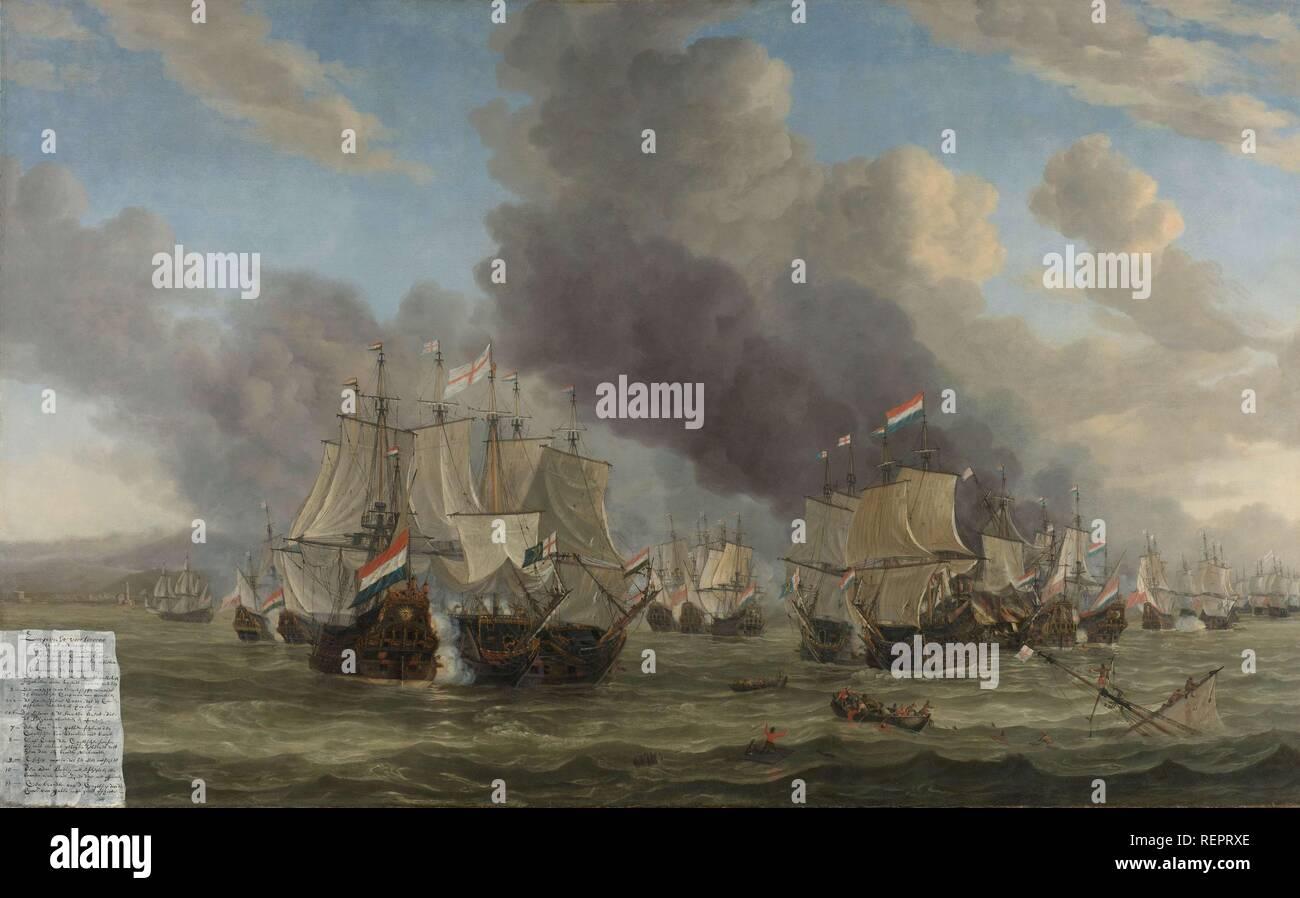 The Battle of Livorno. The Naval Battle near Livorno, 14 March 1653. Dating: 1653 - 1664. Measurements: h 142 cm × w 225 cm. Museum: Rijksmuseum, Amsterdam. Author: REINIER NOOMS. Reinier Zeeman. Stock Photo