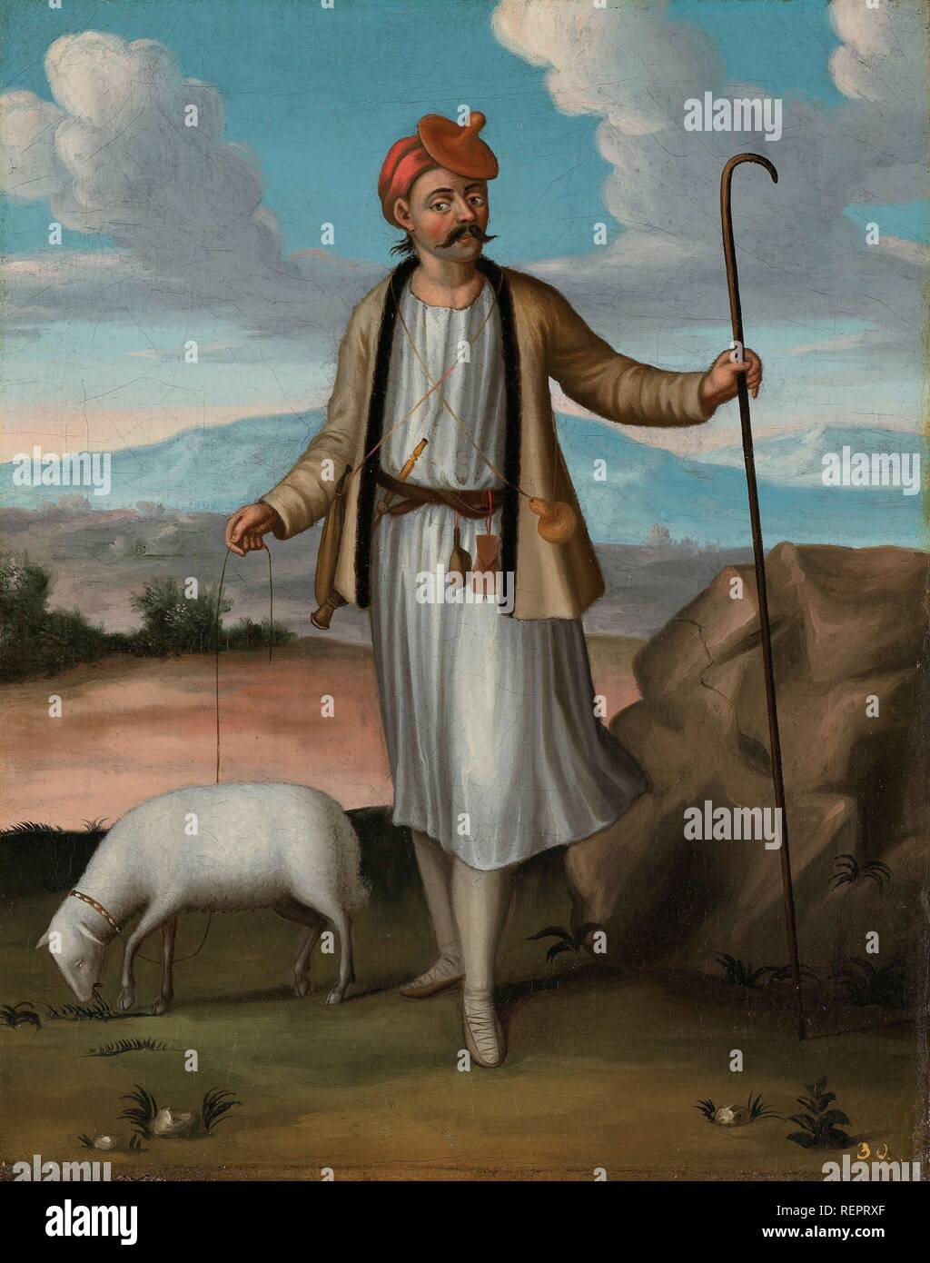 Albanian Herdsman. Dating: 1700 - 1737. Place: Istanbul. Measurements: h 39 cm × w 31 cm. Museum: Rijksmuseum, Amsterdam. Author: Jean Baptiste Vanmour (workshop of). - Stock Image