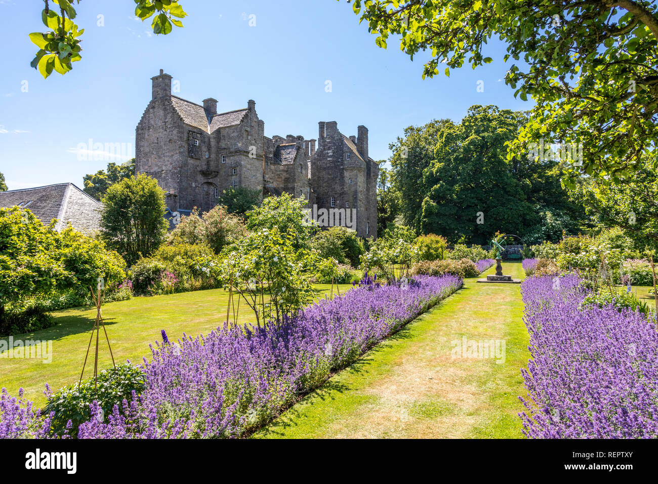 The gardens in summertime at Kellie Castle, Fife, Scotland UK - Stock Image