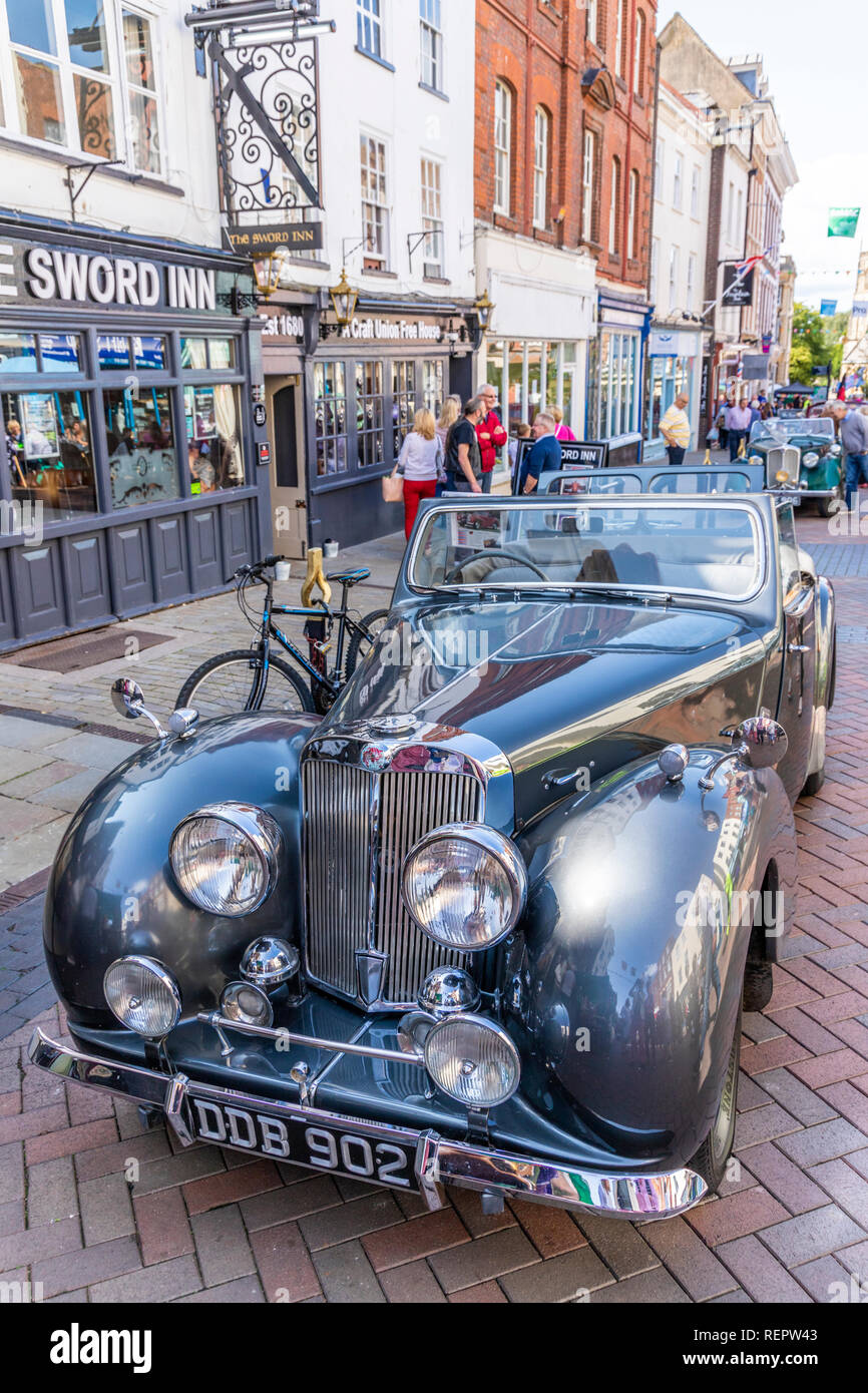 A Triumph Roadster on display in Westgate Street during the Gloucester Goes Retro Festival in August 2018, Gloucester, Gloucestershire UK - Stock Image