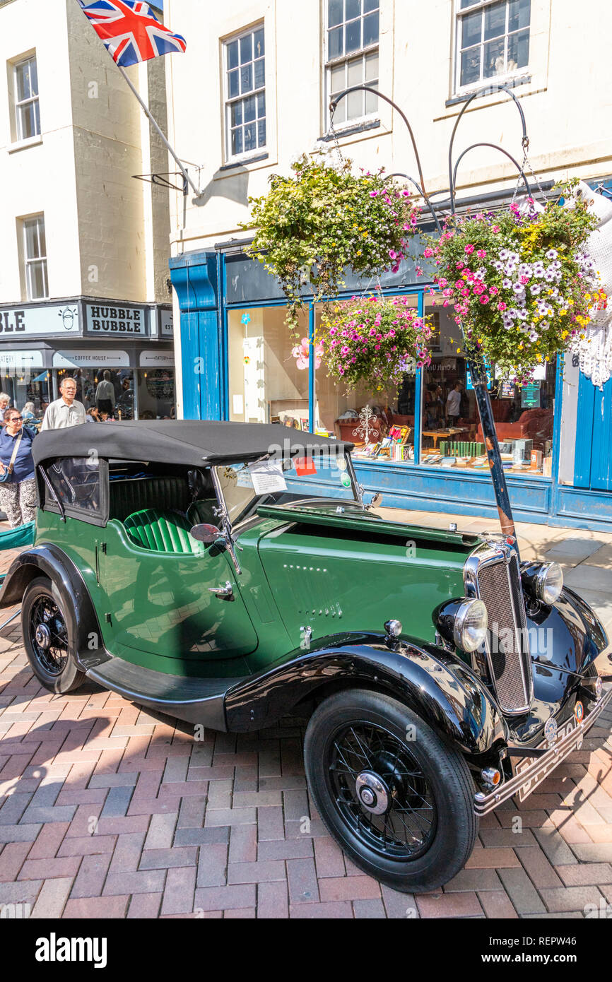 A 1937 Morris 8 HP 4 Seater Tourer on display in Westgate Street during the Gloucester Goes Retro Festival in August 2018, Gloucester, Gloucestershire - Stock Image