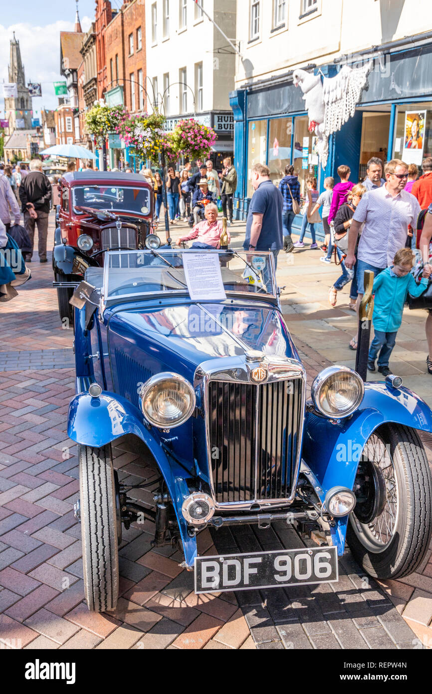 A 1936 MG TA Sports car on display in Westgate Street during the Gloucester Goes Retro Festival in August 2018, Gloucester, Gloucestershire UK - Stock Image