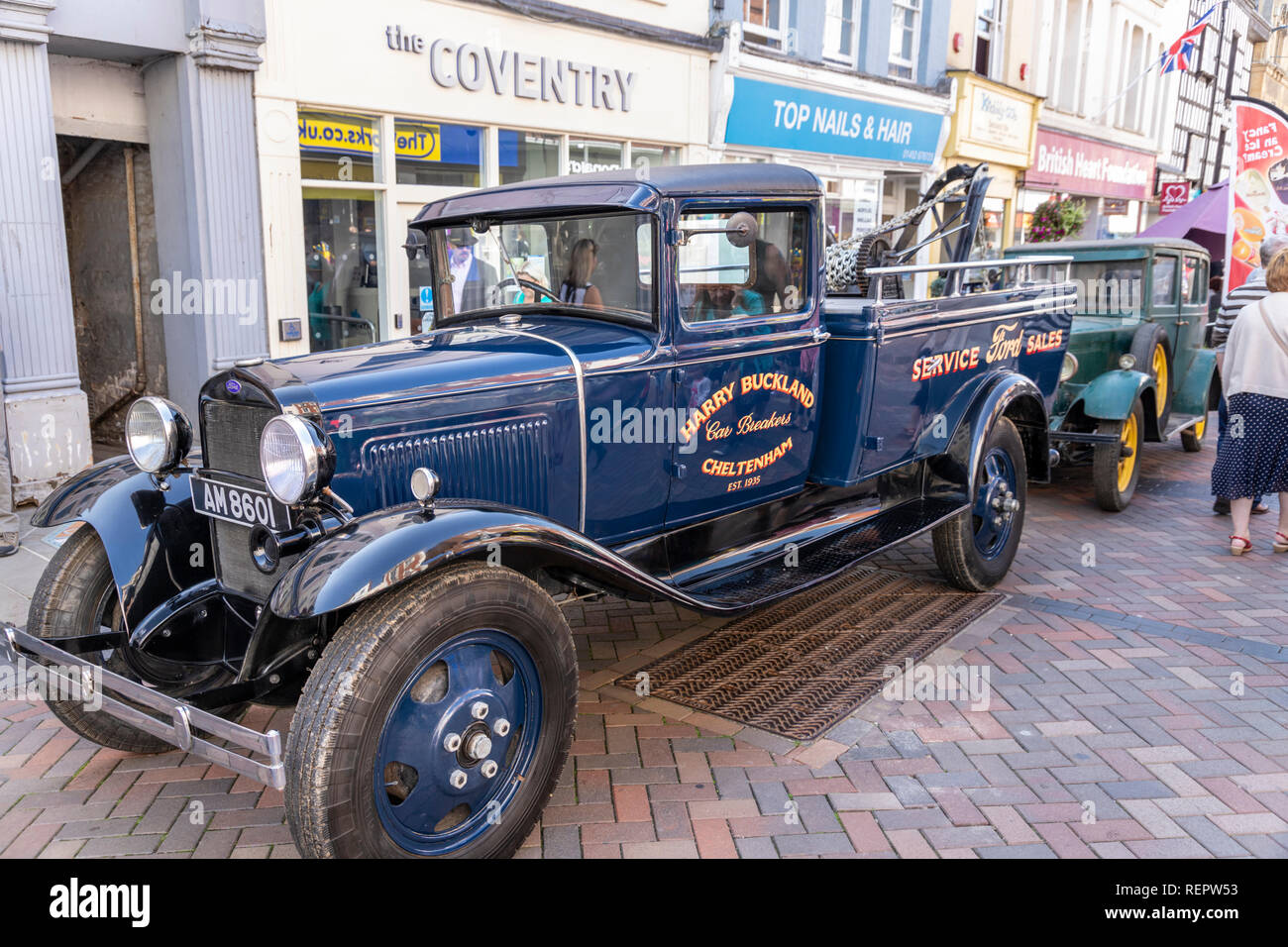 Harry Bucklands old Ford breakdown & tow truck on display in Westgate Street during the Gloucester Goes Retro Festival in August 2018, Gloucester UK - Stock Image
