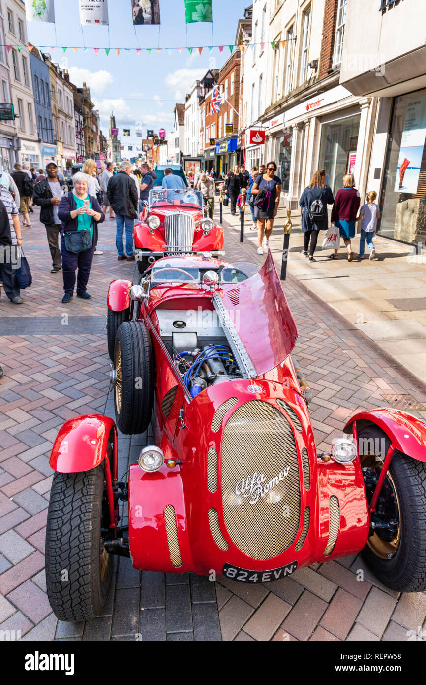 Classic cars on display in Westgate Street during the Gloucester Goes Retro Festival in August 2018, Gloucester, Gloucestershire UK - Stock Image