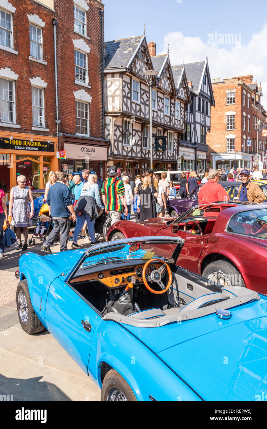 Classic cars on display in Southgate Street during the Gloucester Goes Retro Festival in August 2018, Gloucester, Gloucestershire UK - Stock Image