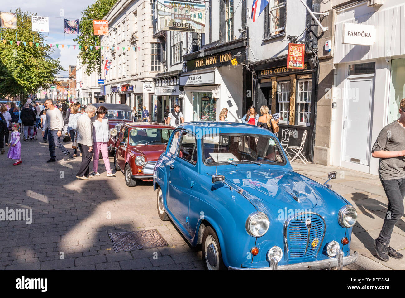 Classic cars on display in Northgate Street during the Gloucester Goes Retro Festival in August 2018, Gloucester, Gloucestershire UK - Stock Image