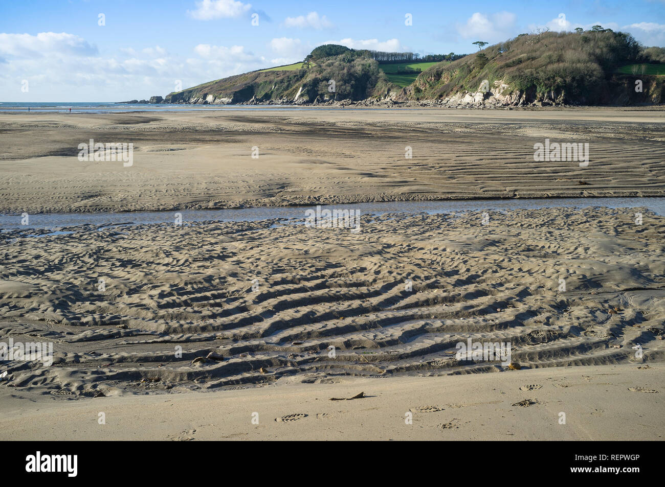 View of rippled sands on Wonwell Beach at low tide, Kingston, South Hams, Devon, UK - Stock Image