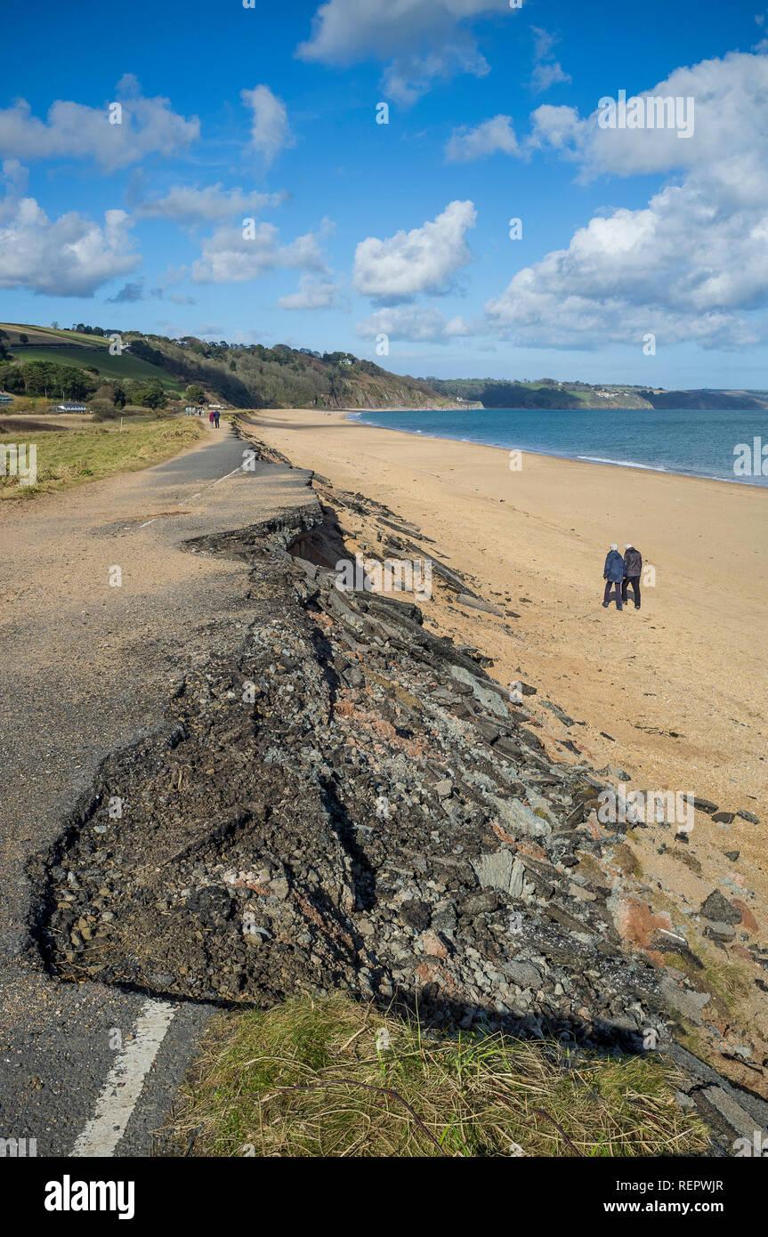 Road washed away on Slapton Sands, South Hams, Devon, UK - Stock Image