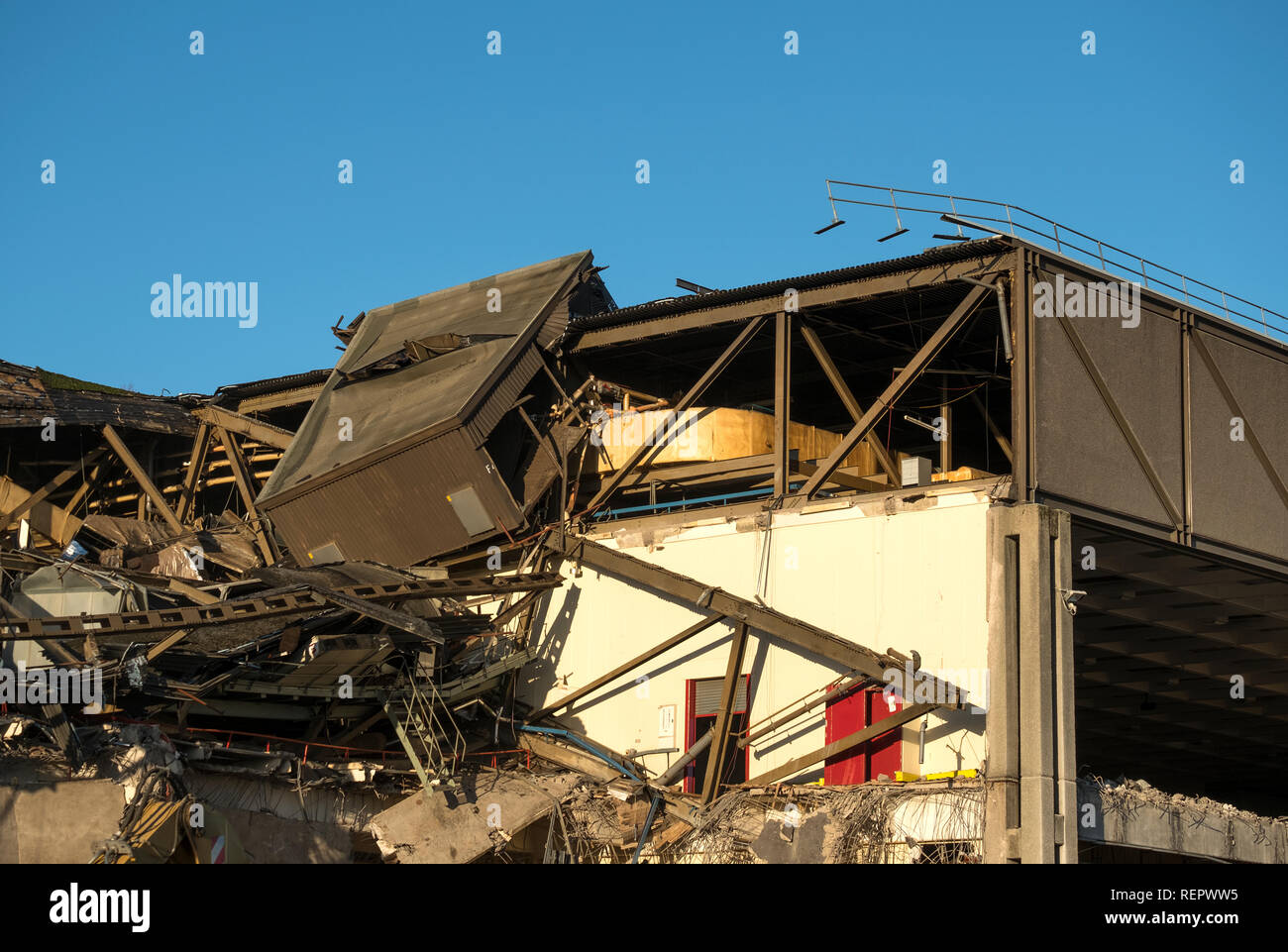 Demolition of the Imperial Tobacco factory, Nottingham, UK - Stock Image
