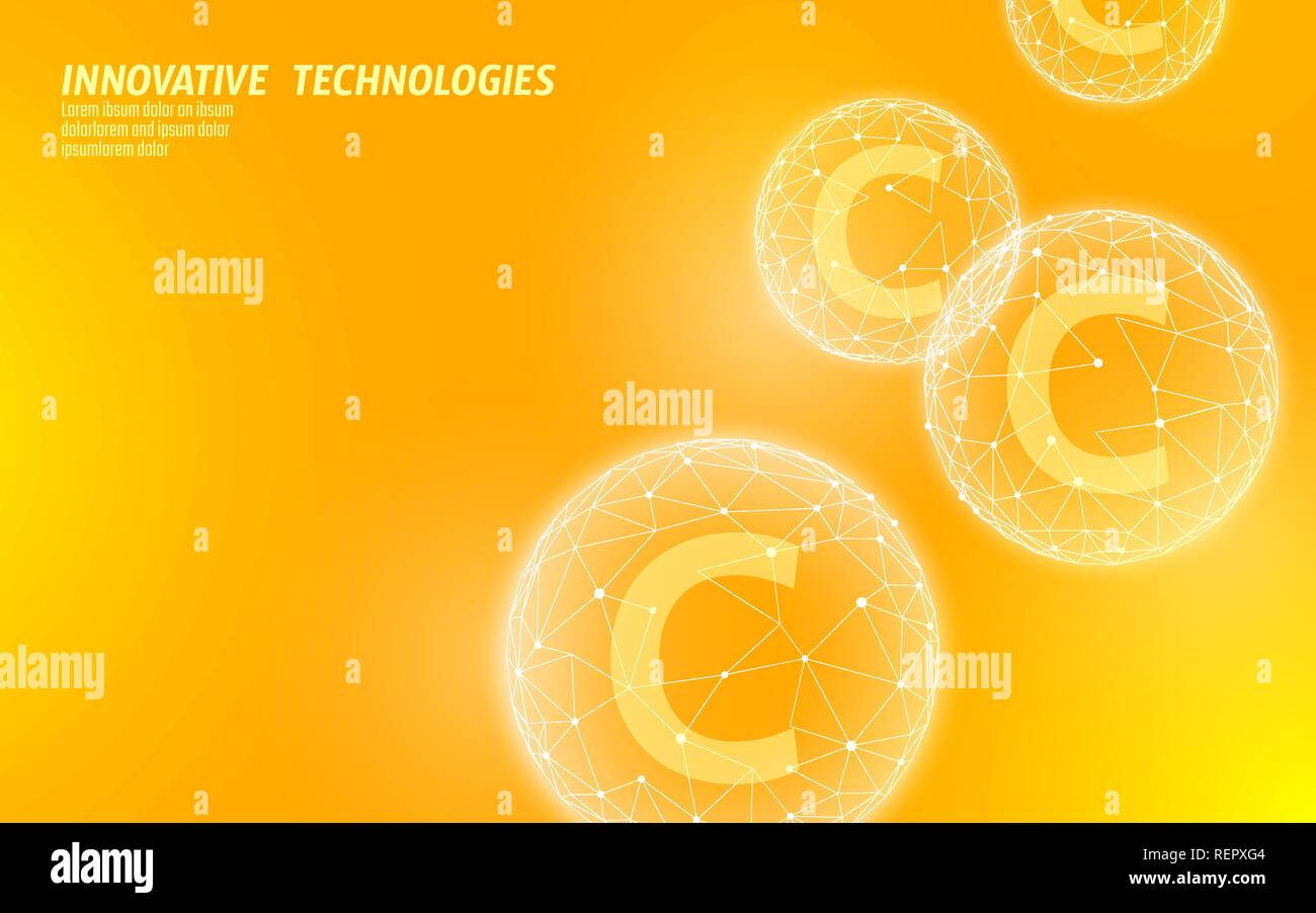 Vitamin C Low Poly Sphere Bright Orange Color Health Supplement