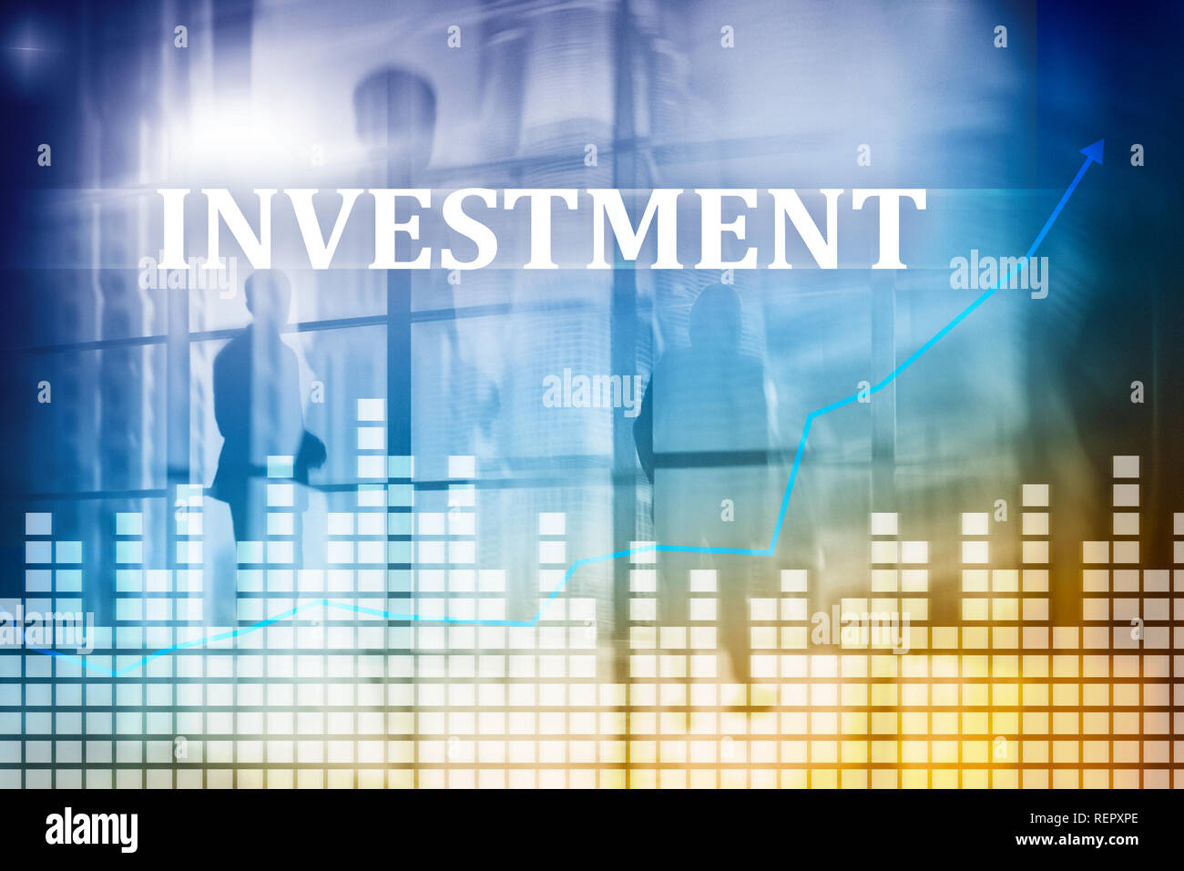Investment, ROI, financial market concept. Double exposure . - Stock Image