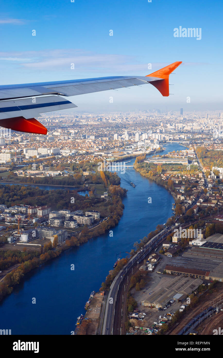 Paris (France) - View from the plane Stock Photo