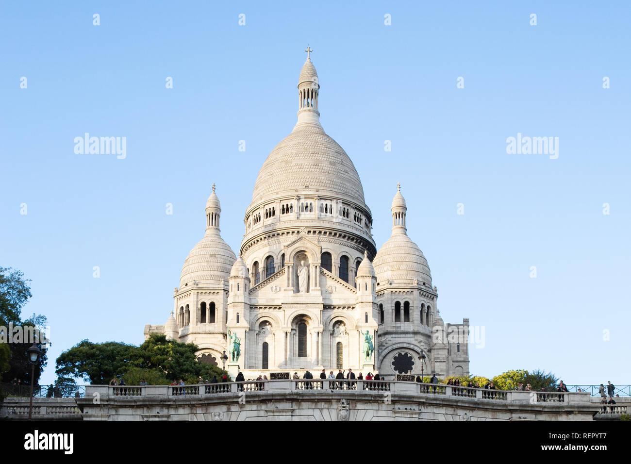 Paris (France) - Basilica of the Sacred Heart of Paris, or Montmartre Sacré-Cœur, is a popular landmark and the 2nd most visited monument in Paris Stock Photo