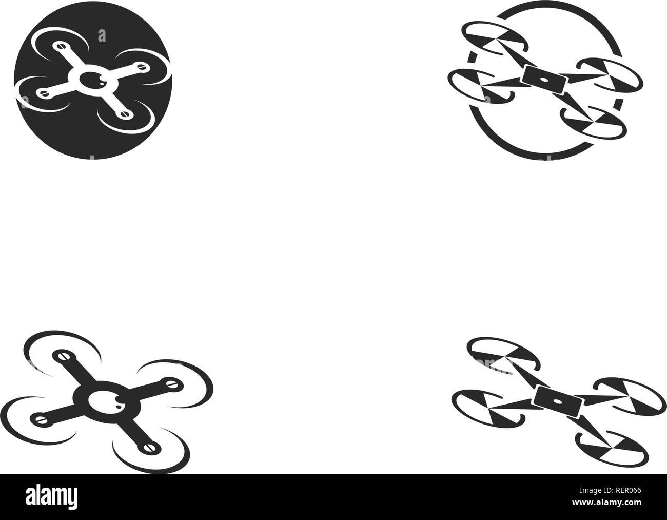 Drone logo and symbol vector - Stock Image
