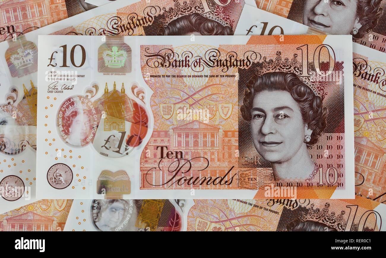 Bank of England £10 polymer banknote - Stock Image