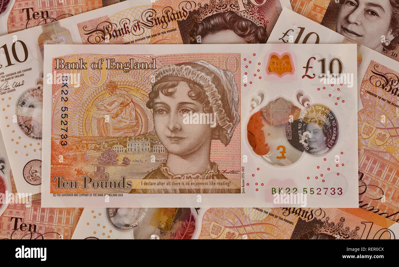 Bank of England £10 polymer banknote Stock Photo