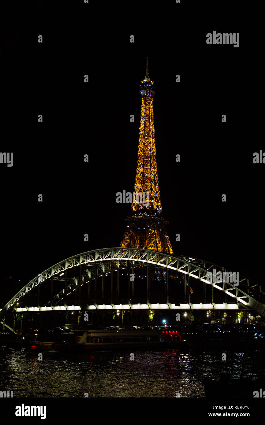 PARIS, FRANCE - NOVEMBER 9, 2018 - Tour Eiffel night illumination. Eiffel Tower is the most visited monument in France Stock Photo