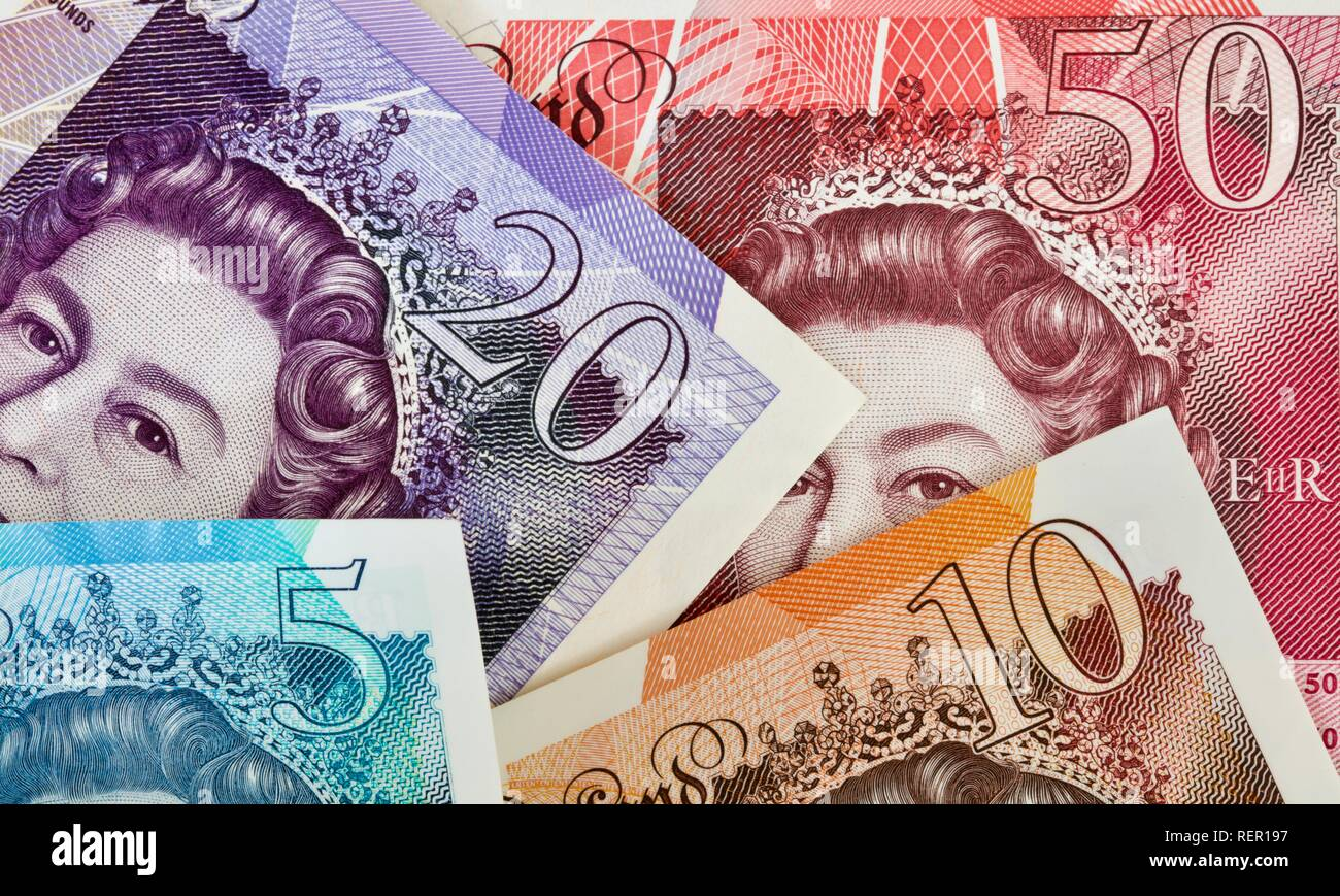 Bank of England £5, £10, £20 and £50 banknotes - Stock Image