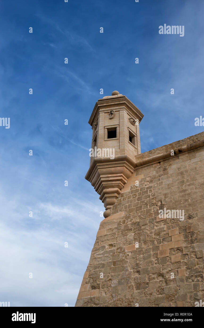 watch Tower, Safe Haven gardens, Senglea Point in Grand Harbour, Valletta, Malta - Stock Image