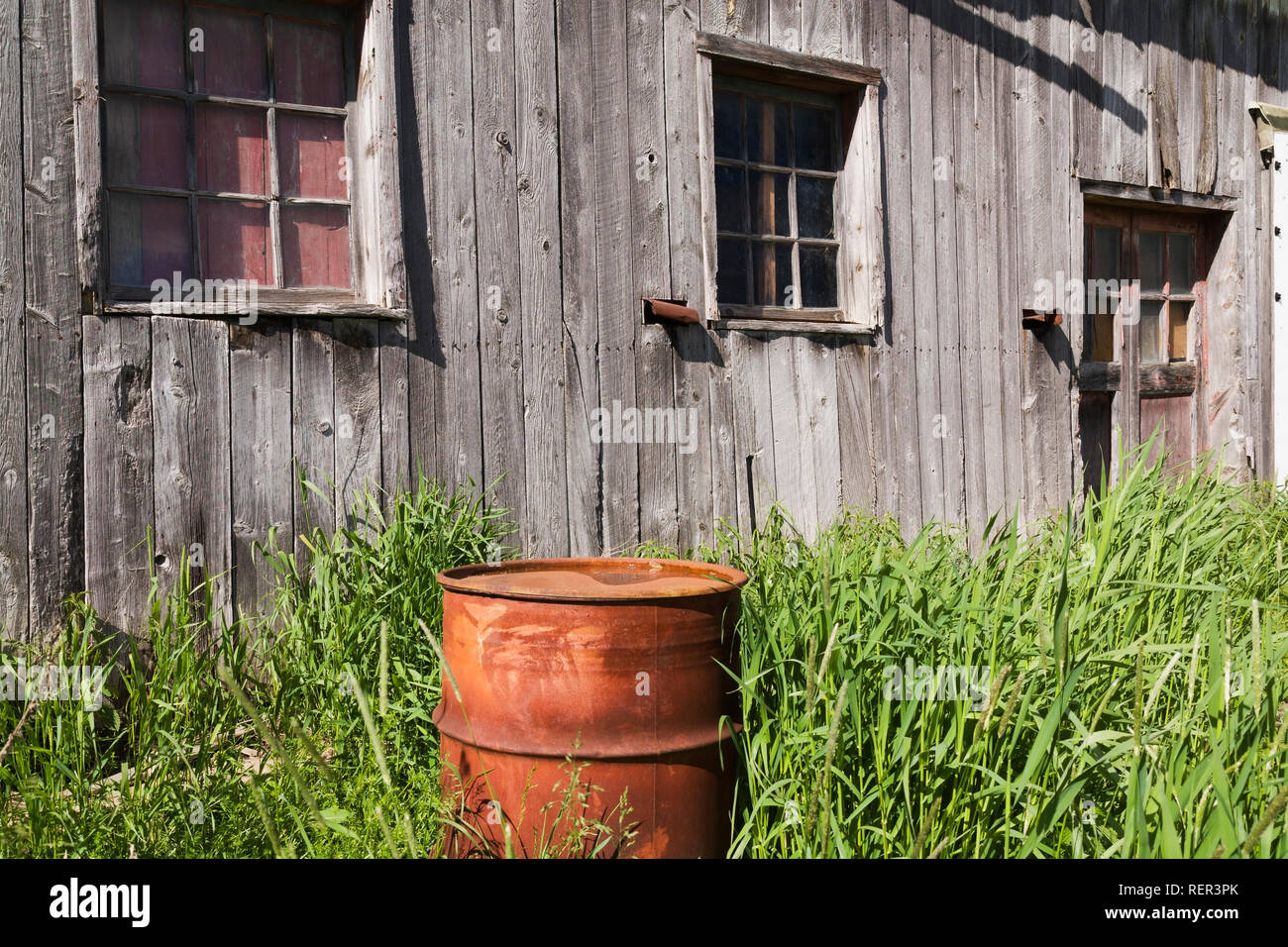 Old grey wooden barn and rusted oil drum - Stock Image