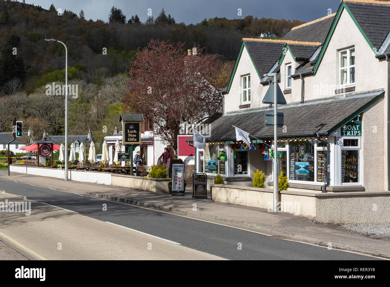 Gift shop on the A82 road in Drumnadrochit, Highland, Scotland - Stock Image