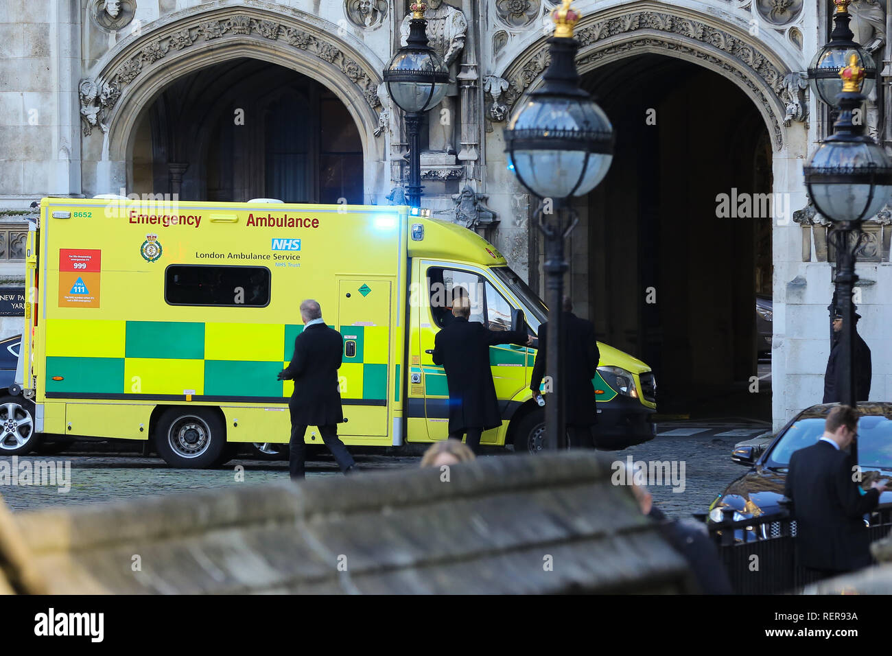 London, UK. 22nd Jan, 2019. An ambulance seen on grounds of the Palace of Westminster in London. Credit: Dinendra Haria/SOPA Images/ZUMA Wire/Alamy Live News Stock Photo