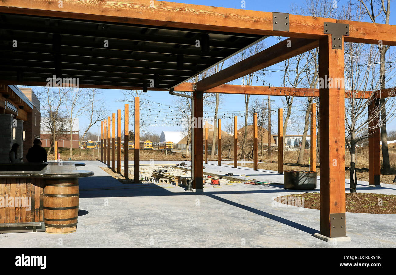 The outdoor bar and game area at the tangled wood restaurant on tanglewood road in bettendorf credit kevin e schmidt quad city times zuma wire alamy live