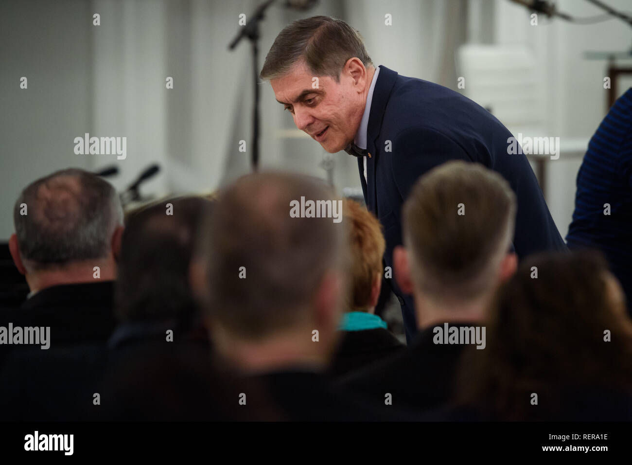 Berlin, Germany. 22nd Jan, 2019. Romani Rose, Chairman of the Central Council of Sinti and Roma, comes to a cultural evening of Sinti, Roma and Jeni at Bellevue Castle, the official residence of the Federal President. Credit: Gregor Fischer/dpa/Alamy Live News Stock Photo